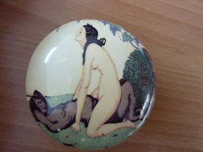 Art deco style erotic porcelain trinket pill box Gerda Wegener 932-6B