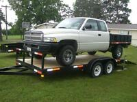 "20' flatbed car trailer,24"" beaver tail hidden ramps,Galv. rims"