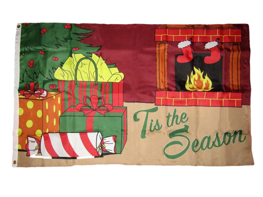 3x5 Merry Christmas 'Tis The Season Fireplace Gifts Holiday