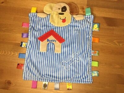 Used, Taggies Peek A Boo Buddy Puppy Dog Baby Blanket Blue Stripe Bone Security Lovey for sale  Burnaby