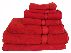 Red 100%  Cotton Bath Towel Range 7 Pieces Set or Single Pieces Choice