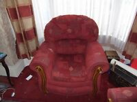 2 X RED, RUST & GOLD LEAF MATCHING ARM CHAIRS