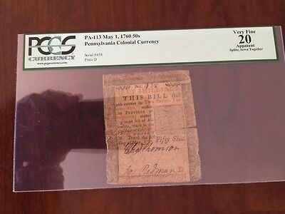 Click now to see the BUY IT NOW Price! BEN FRANKLIN PENNSYLVANIA COLONIAL CURRENCY PA 113.   1760 50SHIL