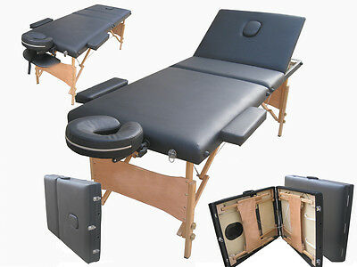 BLACK MASSAGE BED STAINPROOF PORTABLE BEAUTY THERAPY TABLE ADJUSTABLE 3 WAY HOME
