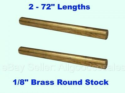 18 X 6 Brass Round Stock 2 - Lengths Solid 72 Long Rods Mill Finish New