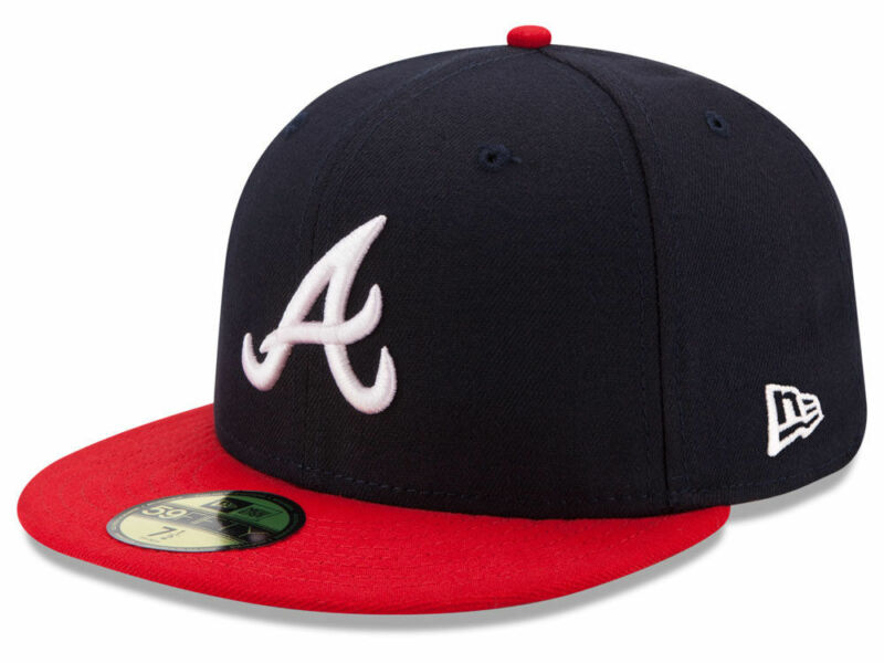 New Era Atlanta Braves HOME 59Fifty Fitted Hat (Dark Navy/Red) MLB Cap