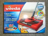 VILEDA Electric Floor Sweeper Rechargeable Cordless Bagless Carpet Rugs Hard Pet