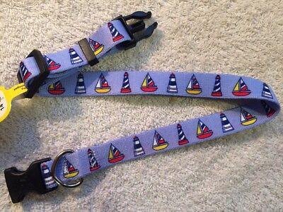 """Sailboats & Lighthouses Adjustable Medium Dog Collar (14""""-20"""") Yellow Dog Design"""