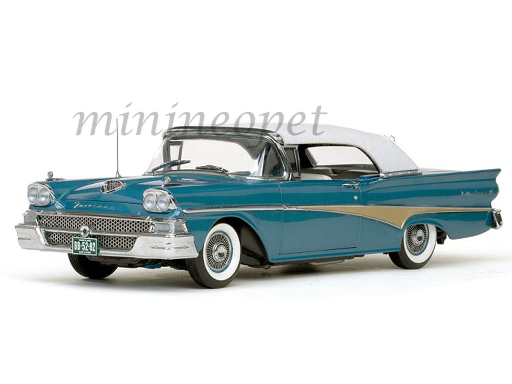 SUN STAR 5282 1958 58 FORD FAIRLANE 500 CLOSED CONVERTIBLE 1/18 BLUE / WHITE