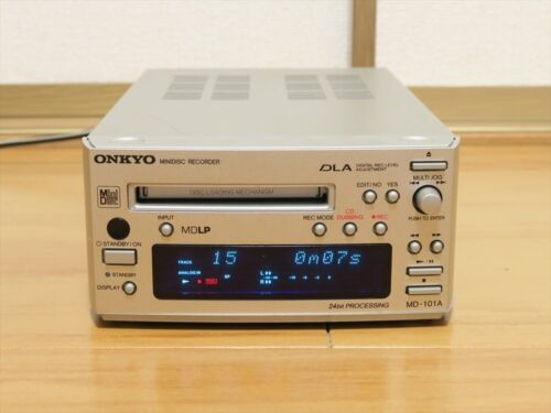 ONKYO MD-101A INTEC 155 MD deck Recorder silver MDLP 24-bit High Speed Japan