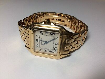 Cartier Large Panthere 18k Yellow Gold Quartz Mens Watch , FREE SHIP