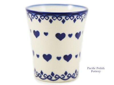 Small Polish - Polish Pottery Stoneware Tumbler Small Cup Boleslawiec, Poland (237-D171) Hearts