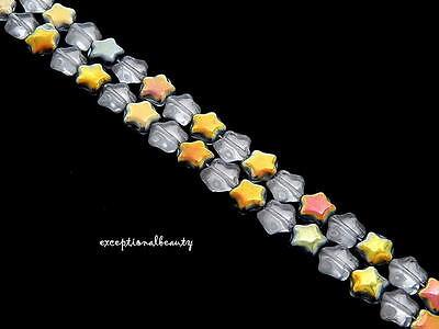 58 Presiosa Czech Glass Crystal Vitrail 8Mm Flat Puffed Bohemian Star Beads