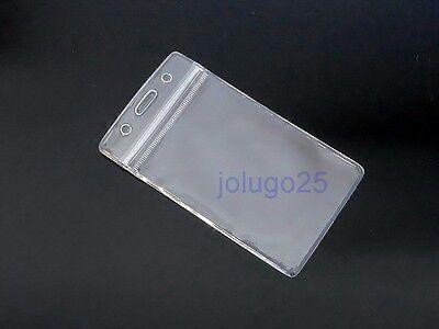 25 ID Badge Holder Clear Plastic ID Card Holders Vertical Zip Lock K53-25