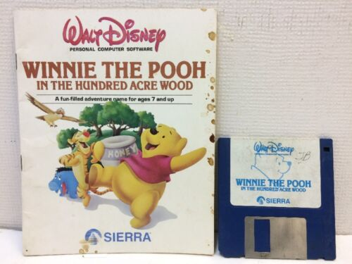 "Computer Games - RARE 1985 Winnie the Pooh PC Computer Game Sierra Collectors 3.5"" Disk & Manual"