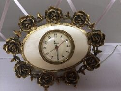 STYLEBUILT Vintage Electric Desk Clock Vanity Decor Ormolu Rose Gold Tone Frame