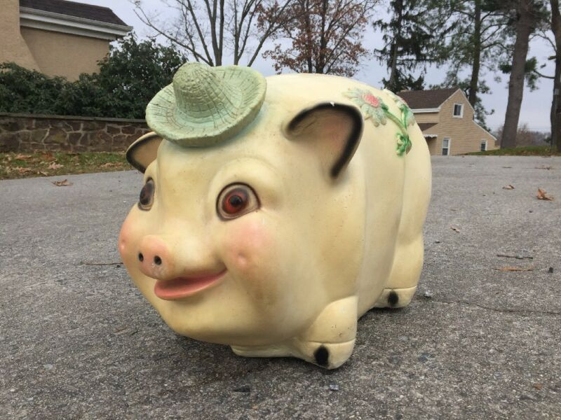 "Large 14"" Tall Antique Vintage Piggy Bank Pottery Pig"