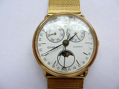 18K GP Swiss Cyma Triple Date Moonphase Mechanical Automatic Bracelet Watch Box