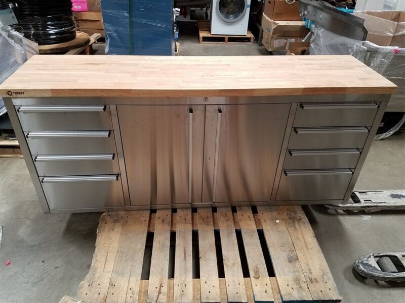 New Trinity Stainless Steel 8 Drawer Lockable Cabinet w/ Casters & Wood Top
