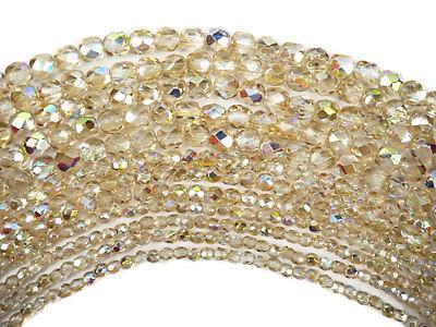 Czech Glass Fire Polished Round Beads, Crystal Lemon Rainbow 3mm, 4mm, 6mm 6mm Crystal Round Bead