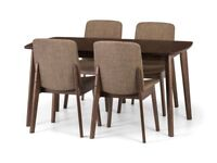 *FAST & FREE UK DELIVERY* Solid Kitchen Dining Extendable Table with 4 Chairs in Walnut BRAND NEW