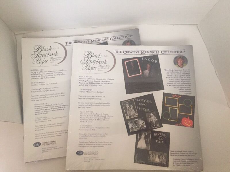 New 2 orig Creative Memories 12x12 Black Scrapbook Pages Refill RCM-12BL LOT