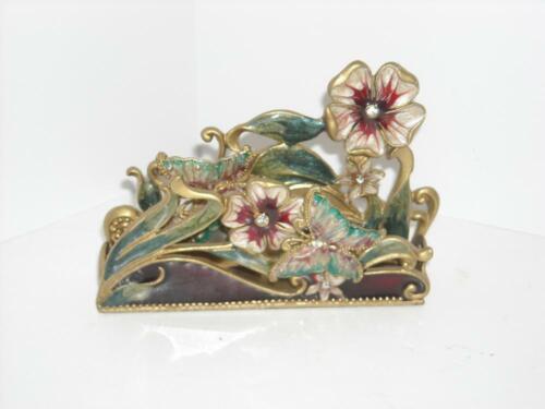 Enamel Rhinestone Card Holder Flowers Butterflies