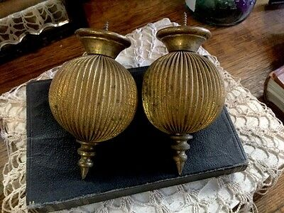 Antique Pleated Drapery Curtain Rod FINIALS Pleated Brass Architectural Salvage