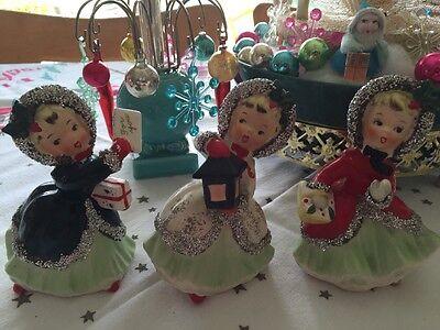 Vintage Napco Rare Christmas Ceramic Figurine Girls Japan Set Of 3