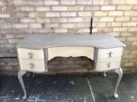 DRESSING TABLE LOUIS STYLE DESK GREY CREAM PAINTED SOLID MAHOGANY