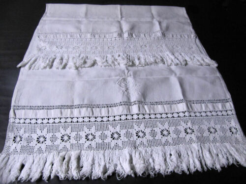 Lg. Vintage Linen Towel Fringe Elaborate Monogram LC or CL