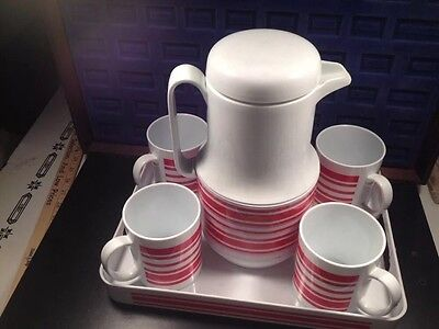 4 Red White Atomic Ring PLASTIC Mug SET VTG Retro Himark Gourmet Kitchen Taiwan ()