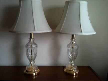 Pair of crystal lamps with shades need rewiring 30 the pair