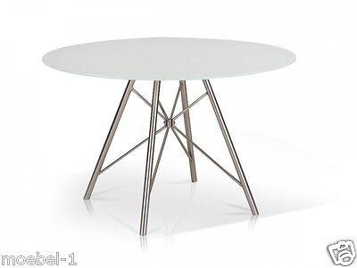weißer esstisch runder tisch küchentisch Ø 120 cm rund weiß, Esszimmer dekoo