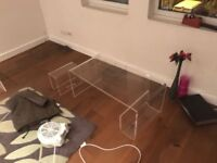 Coffee Table Glass Effect Acrylic With Magazine Rack. Set of 2. Delivery possible