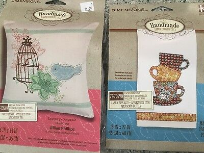 Dimensions Birdcage Pillow Cover Stacked Cups Towel Embroidery Kits Never Used