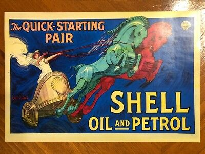 Tin Sign Vintage Shell Oil And Petrol The Quick Starting Pair