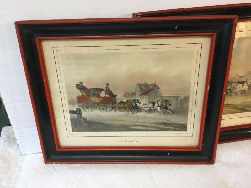 Magnificent Antique Black & Red Painted Wood Picture Frames English Coach Prints