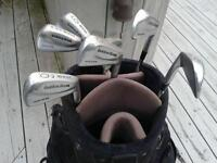 RamGolden iron clubs and  Nike bag