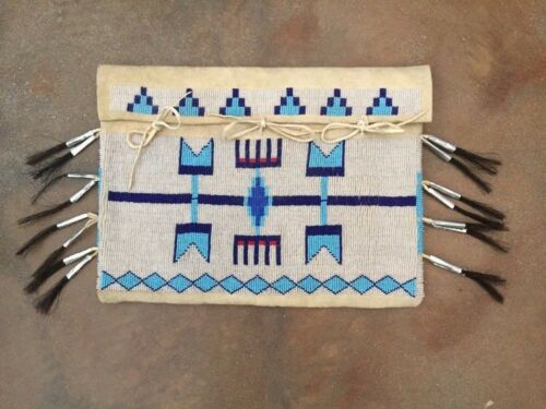 Vintage Glass Beaded Tribal SaddleBag with Cone Horsehair Tinklers