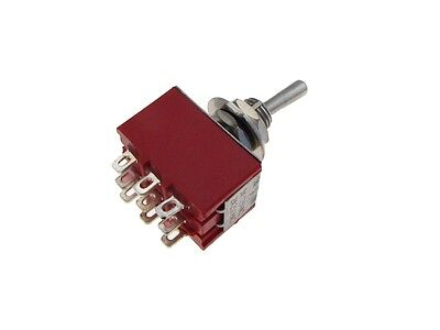 9-pin 3pdt Toggle Switch - Red - Panel Mount Type On-off-on