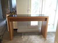 ***SOLD*** IKEA Malm oak veneer dressing table with sliding drawer and dark glass top