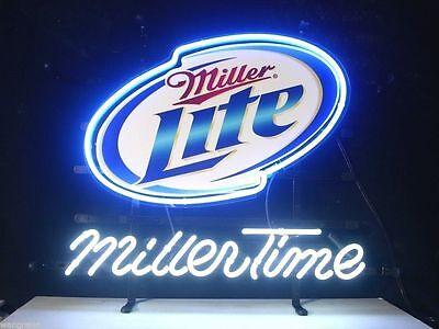 "Miller Lite Miller Time Beer Real Glass Neon Sign 14""X10"""
