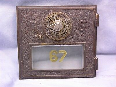 Circa 1896 Post Office Box Brass   Bronze Size  2 Beveled Glass Numbered In Gold