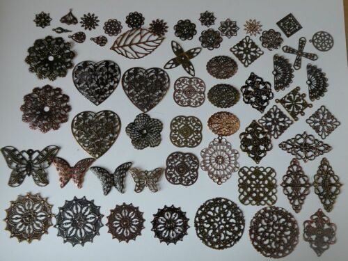 Metal Filigree Stampings Lot  56 or 112 pcs Bohemian Vintage Style