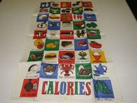 Vintage Souvenir Unused Pure Linen Tea Towel Calorie Counter