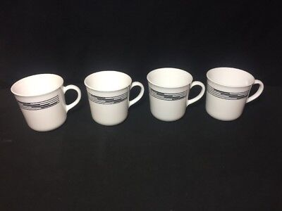 4 Corelle Optic White With Black Bands Coffee Tea Mugs Cups Corning USA