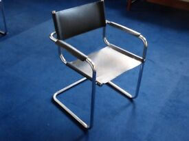 Qty 10 Italian Bauhaus Mark Stam style black leather seat chrome frame cantilever chairs