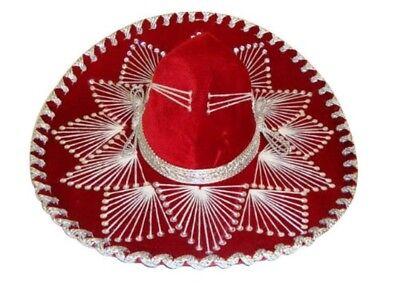 #109 Red Mexican Charro Mariachi Hat Sombrero White Color Trim Adult Costume New