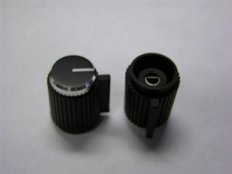 "10 Vintage Plastic W/Aluminum Cap Stereo Knobs for 1/8"" Half Round Shaft"
